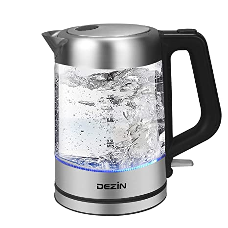 Dezin Electric Kettle Glass Water Heater Boiler, 1.5L Stainless Steel Finish Cordless Tea Kettle with LED Light, One Touch Lid Open Button, Fast ...