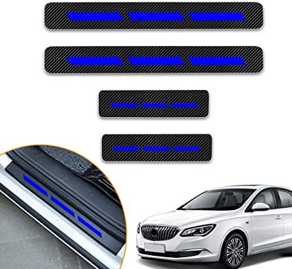 For CX-5,Blue For CX-5 Carbon Fiber Car Door Sill Scuff Guard Anti Scratch Panel Step Protector Stickers