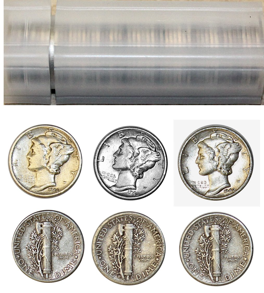 1916-1945 Mercury Dime Roll 50 Coin Various Marks Circulated Condition