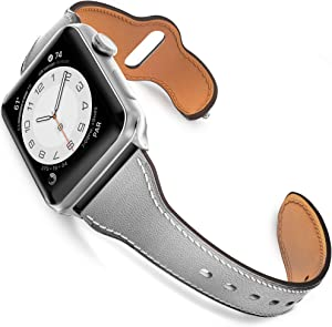 GZ GZHISY Leather Band Compatible for Apple Watch 38mm 40mm, Slim Thin Genuine Leather Narrow Watch Strap Replacement for Women Compatible for iWatch Series 6/SE/5/4/3/2/1, S/M Gray