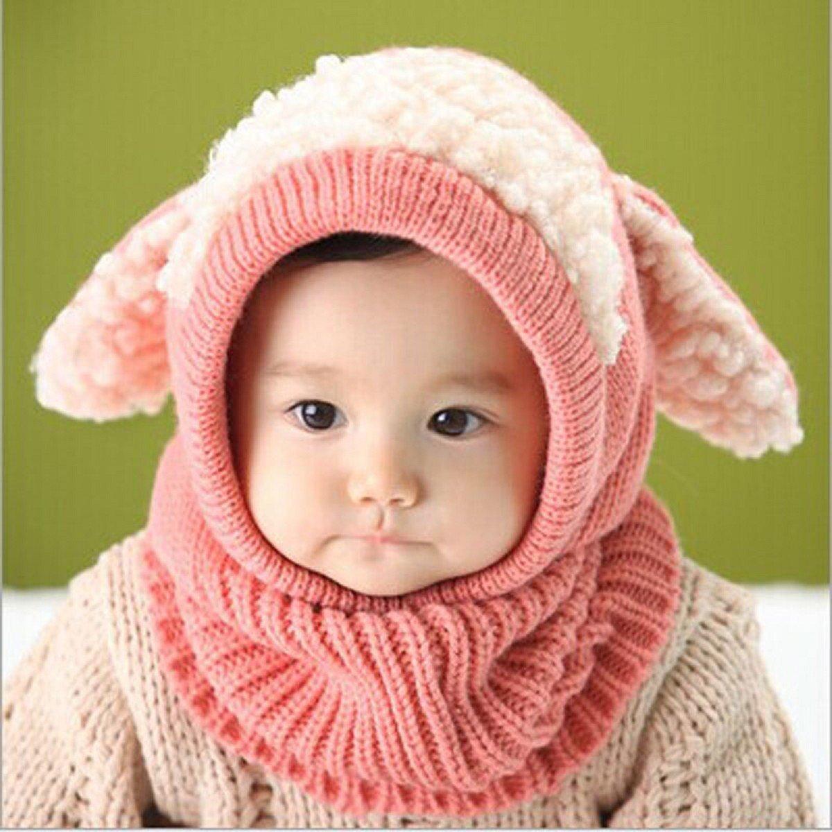 Tongshi Invierno del bebé Niños Chicas Chicos Caliente lana Cofia Capucha Bufanda Caps Sombreros(Rosa): Amazon.es: Bebé