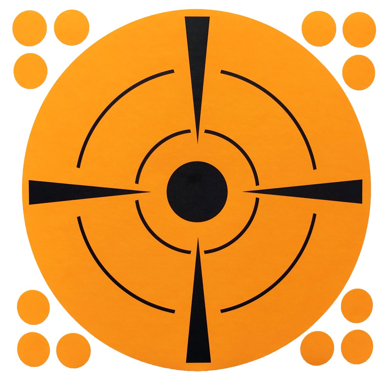 Fluorescent Orange with Black Circle Target Paster Stickers, 6 Inches Round, 50 Labels on a Roll