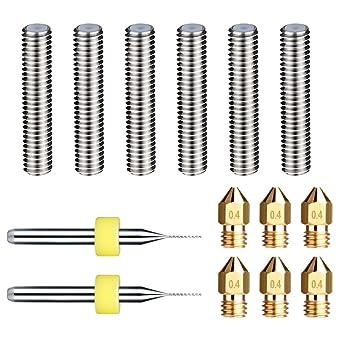 IZOKEE 5 St/ück 0,4mm 3D Drucker Extruder D/üse Druckk/öpfe mit 5 St/ück Teflon D/üsenhals Throat f/ür MK8 MakerBot RepRap M6*26mm