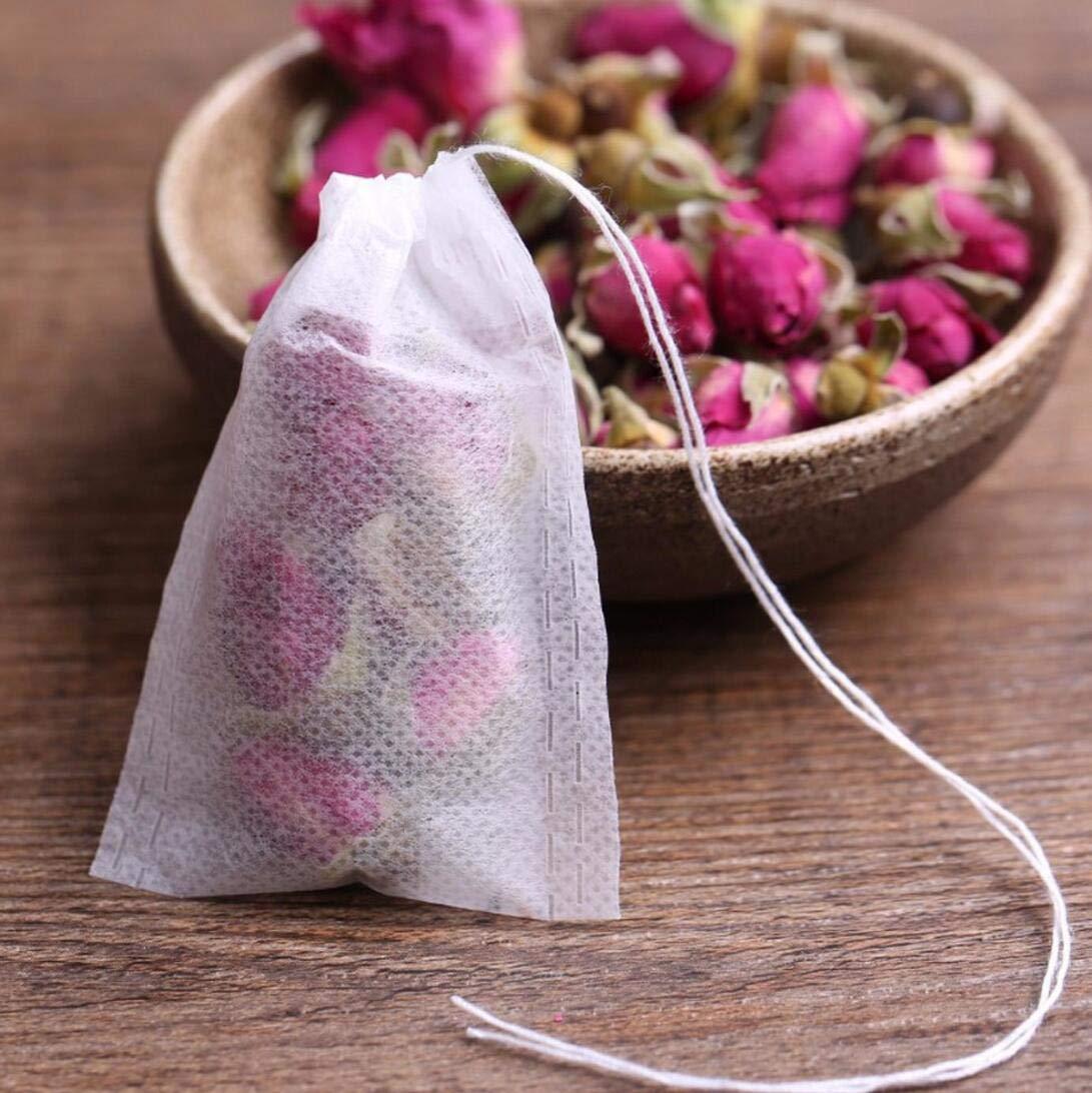 Tea Filter Bags, Disposable Tea Infuser, Safe & Natural Material, 1-Cup Capacity, Drawstring Empty Bag for Loose Leaf Tea