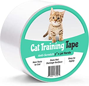 ELK Anti-Scratch Cat Training Tape Scratch Prevention Deterrent - 100% Transparent Clear Indoor Furniture Protector for Chair, Couch, Bed, Stairs, Carpet, Door - Pet and Kid Safe (3 Inch x 30 Yards)