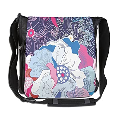 Lovebbag Abstract Fantasy Design Of Graphic Flowers With Swirls Petals Dots Crossbody Messenger Bag