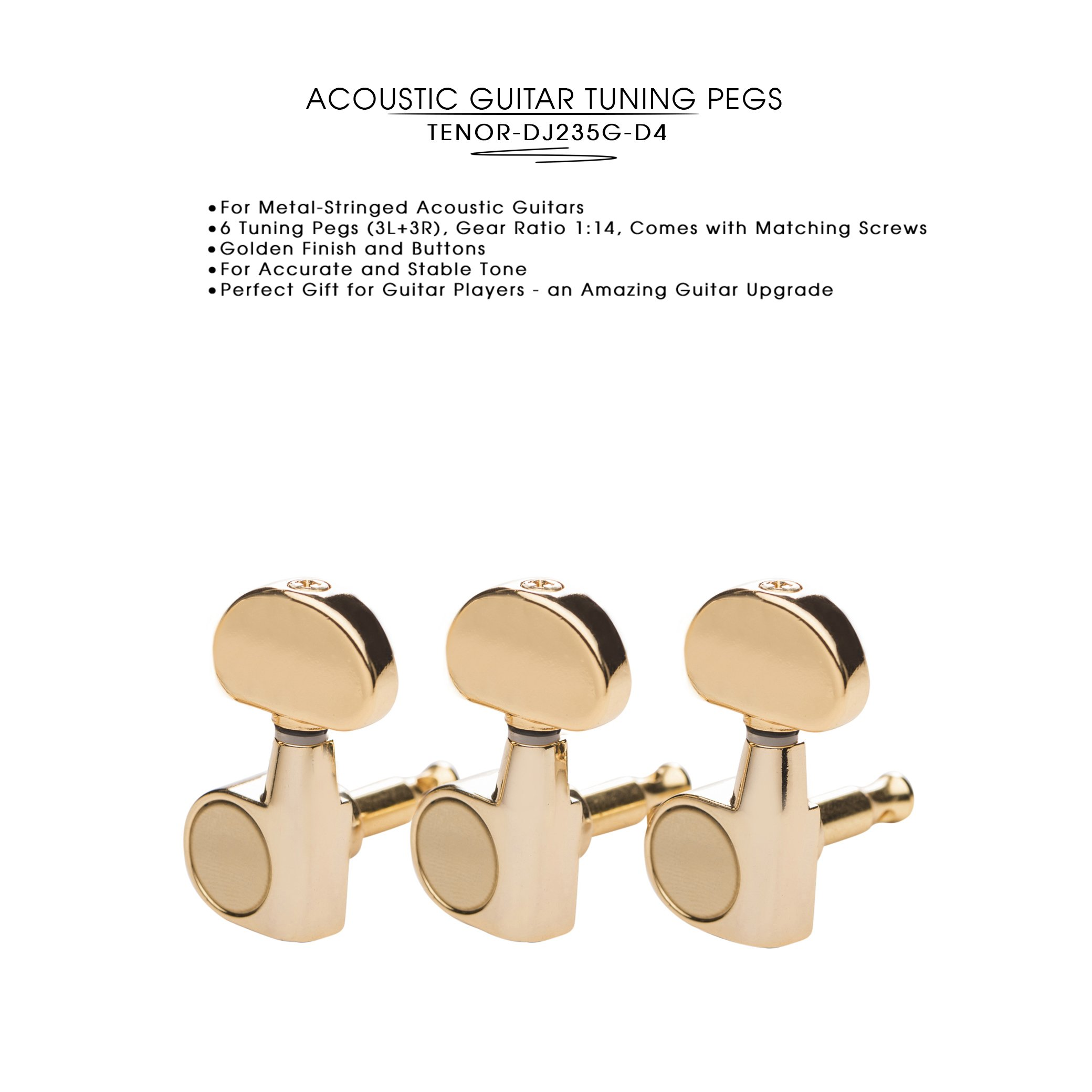DJ235G-D4 TENOR Acoustic Guitar Tuners, Tuning Key Pegs/Machine Heads for Acoustic Guitar with Gold Plated Finish and Gold Plated Buttons.