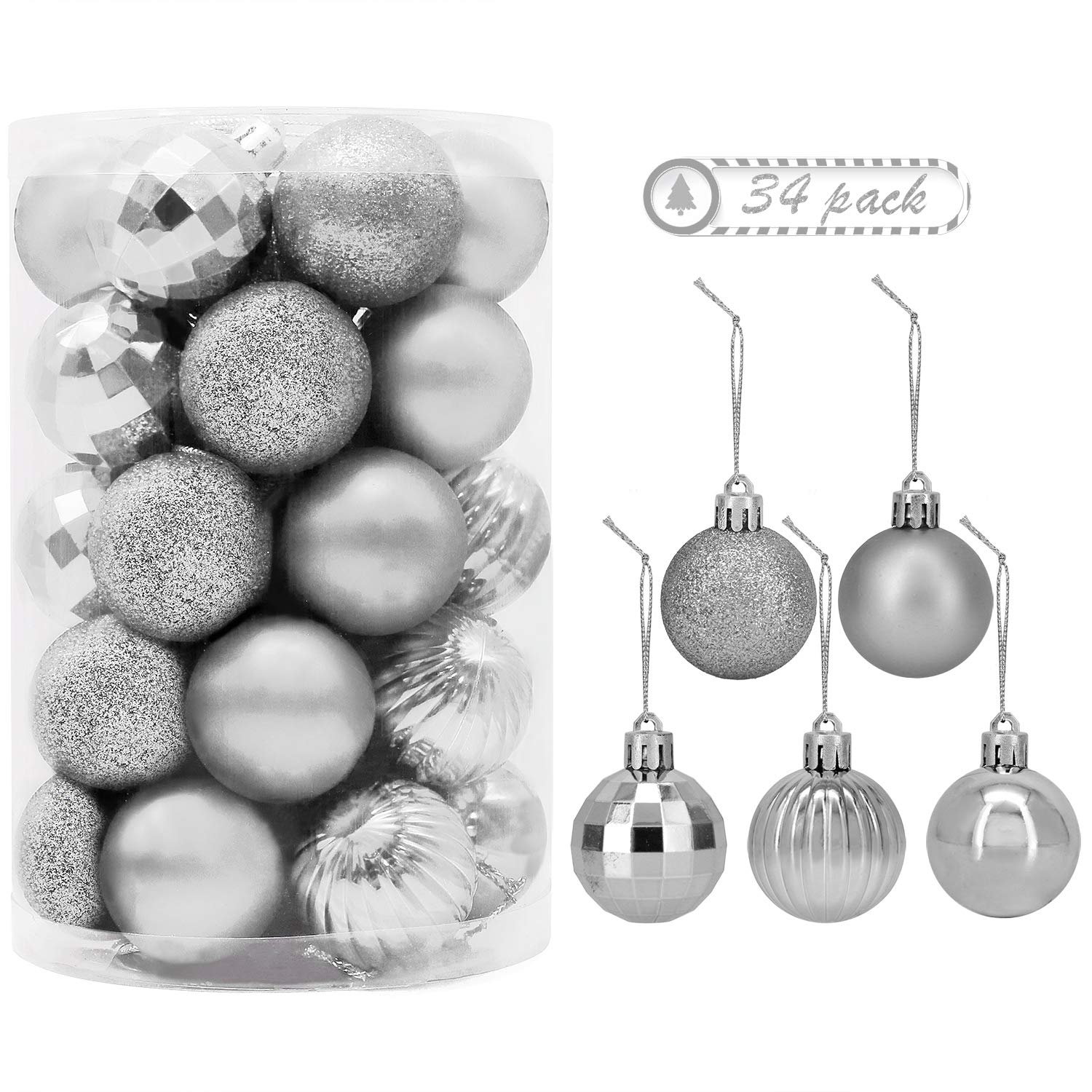 """34 PC Christmas 1.5"""" Ball Ornaments. 5 Assorted Style, Small Shatterproof Xmas Decorations for Christmas Tree, Home Holiday, Wedding Party. Tree Ornaments with Hooks Included. (Silver)"""