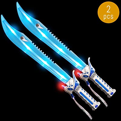 Lumistick Light Up 24 Inch Fiber Optic Shark Sword | Flashing Ultra Bright LED Blinky Lights Dagger - Luminous Glow in The Dark Kids Fun Party Favors (2 Sword): Toys & Games