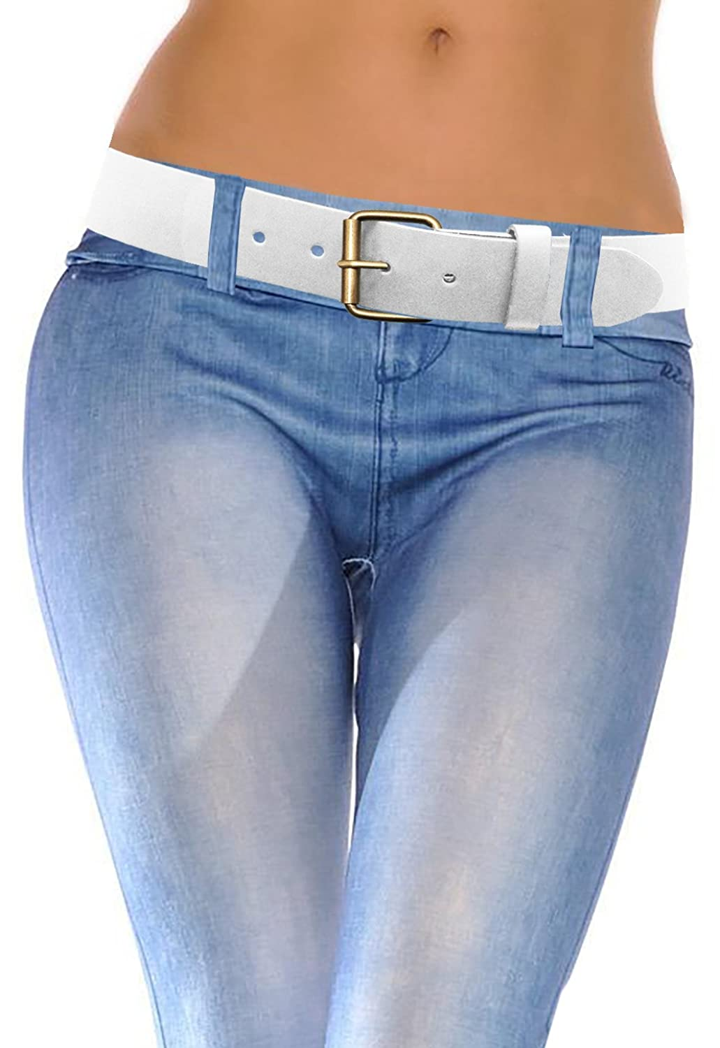 LUNA Women's Thick Wide Leather Belt - Brushed Gold - White -Small