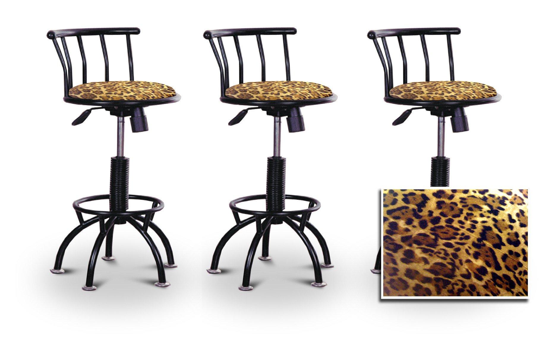 3 24''-29'' Leopard Animal Print Seat Black Adjustable Specialty / Custom Barstools Set