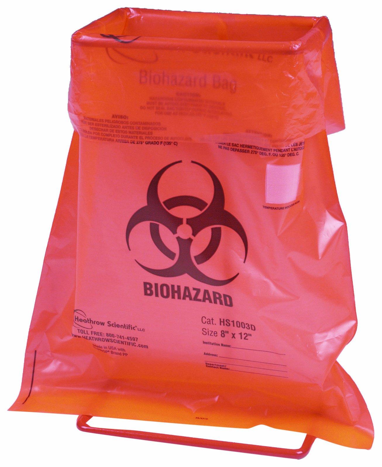 Heathrow Scientific HS10044H Biohazard Bag Holder, Steel Wire, Epoxy Coated, 3.58'' x 5.03'' x .82'' in (9.1 x 12.8 x 2.1 cm), Red, 1/ea