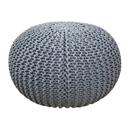 Furniture Round Cotton Knitted Pouffe Ball Large 50cm Foot Stool Braided Cushion Seat Rest Home, Furniture & Diy