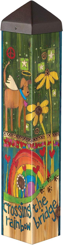 Studio M Rainbow Bridge Dog Art Pole Outdoor Decorative Garden Post, Made in USA, 20 Inches Tall
