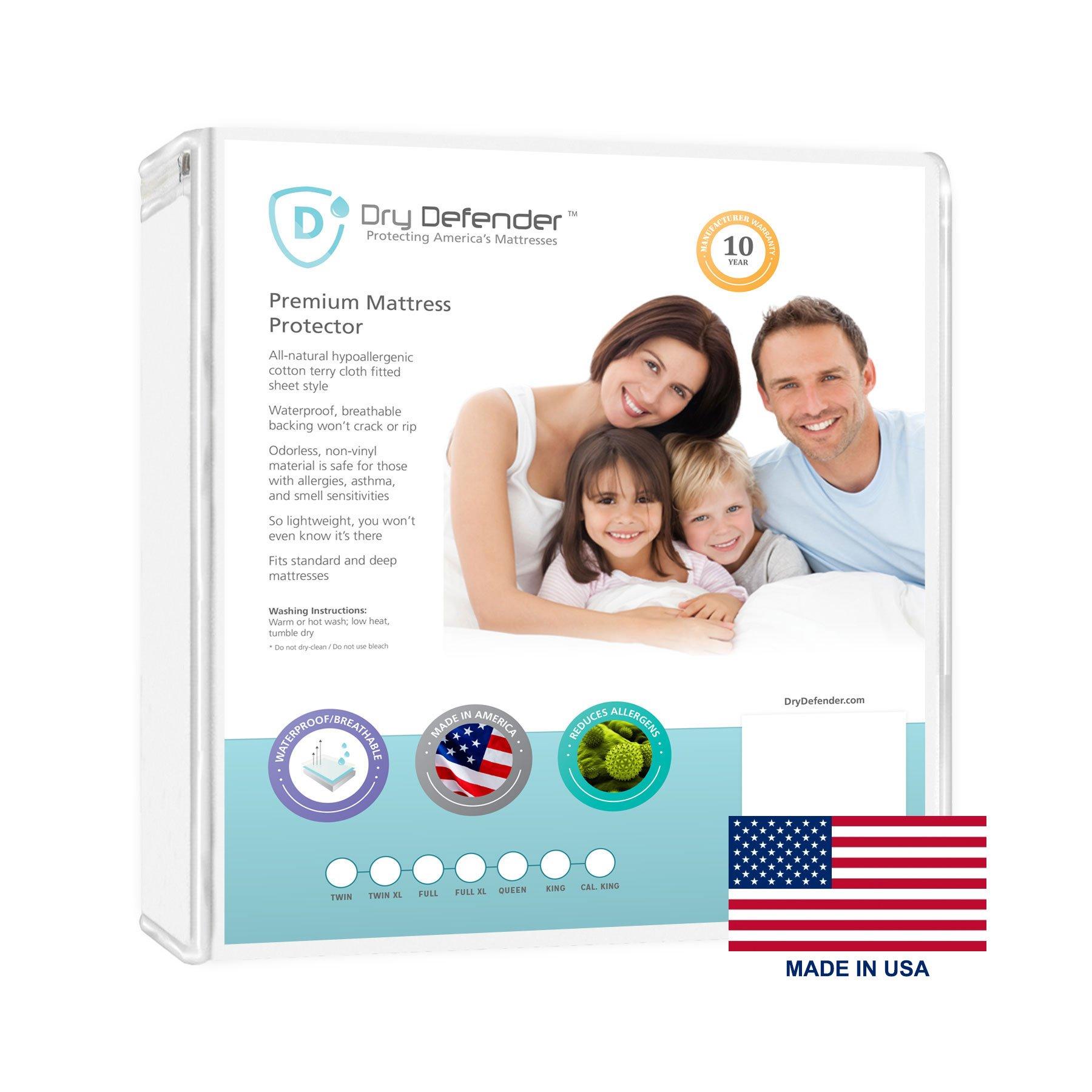 Dry Defender Washable Premium Waterproof Breathable Mattress Protector - California King