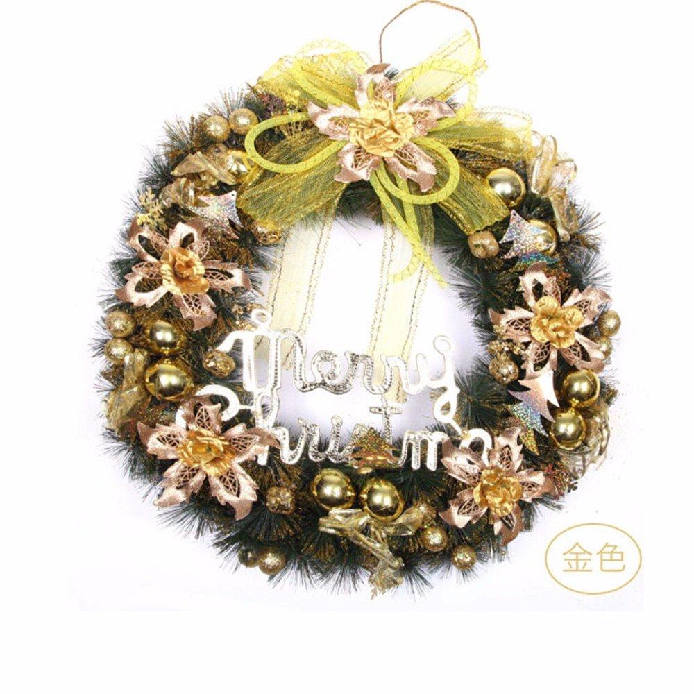 Christmas decorations Christmas scene pendant 60cm pine needles rosette Christmas tree decoration,Gold