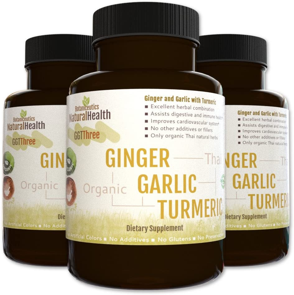 Botaniceutics GG T – Organic Ginger, Garlic and Turmeric – 360 Capsules – 500 mg – Circulatory Health from Natural Ginger, Turmeric Curcumin and Garlic Allium.