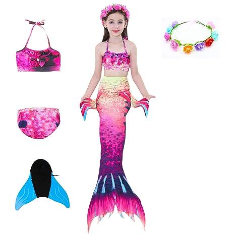 QZH Chica Verano natación Cola de Sirena, Traje de baño ...