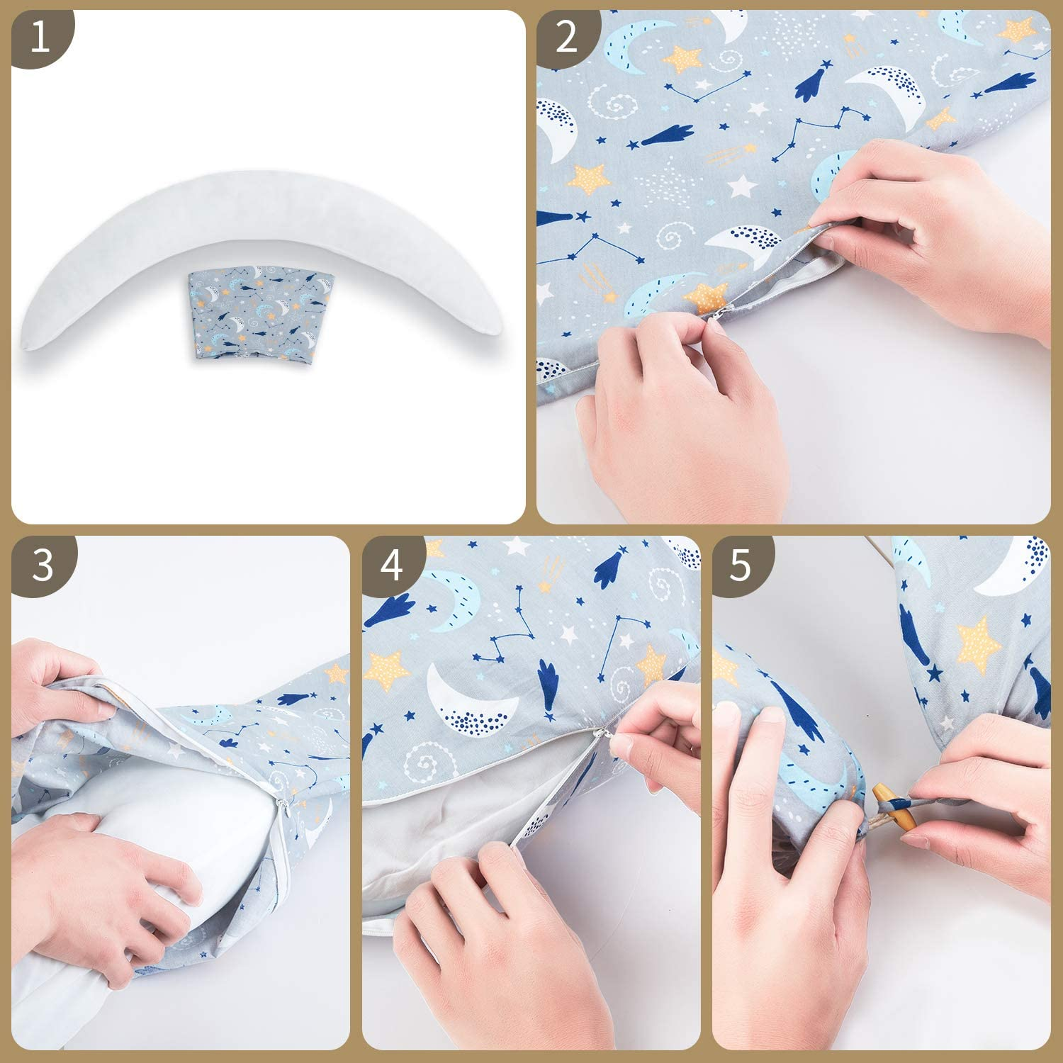 C-Shaped Pillow with 100/% Cotton Removable Cover /& Inner Cushion HOMBYS Pregnancy Pillows Multifunctional Maternity Body Pillow for Sleeping Breastfeeding Nursing /& Baby Nest