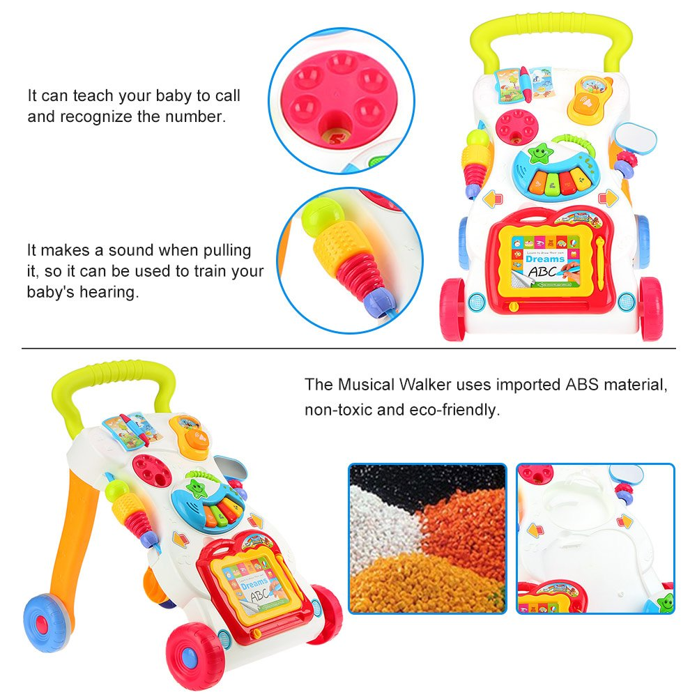 Goolsky Multifuctional Toddler Trolley Sit-to-Stand ABS Musical Walker with Adjustable screw