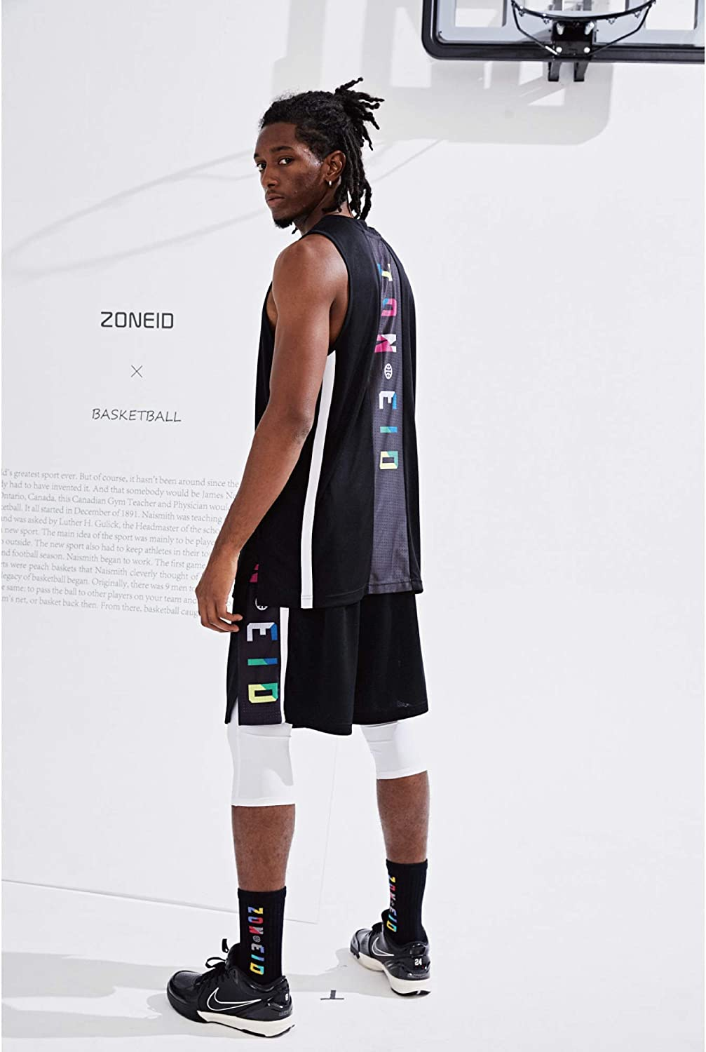 nobrand ZONEiD Mens Athletic Basketball Shorts Mesh Design Quick Dry with Side Pockets