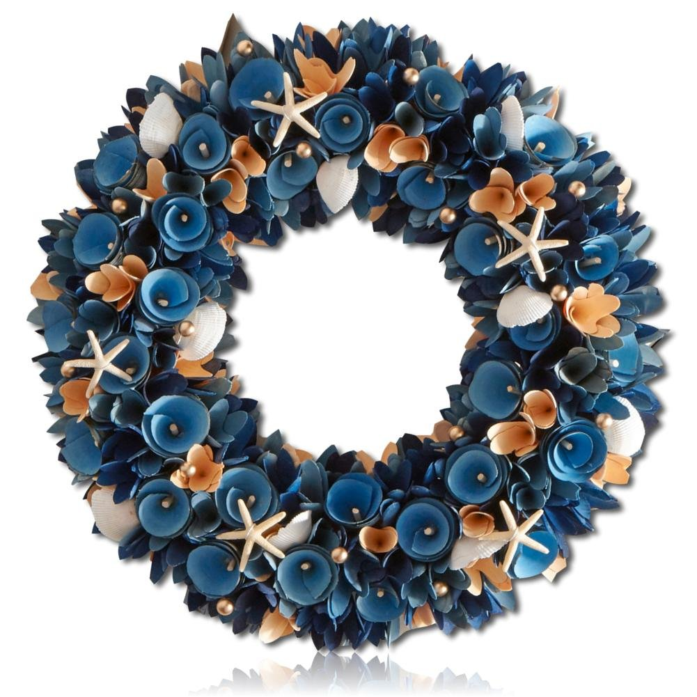 Custom & Unique (18.5'' Inches) 1 Single Mid-Size Decorative Holiday Wreath for Door, Made of Polystyrene Foam w/ Dark Wood Curls Ocean Life Seashells star Fish Pearls Style (Blue, White & Coral Pink)