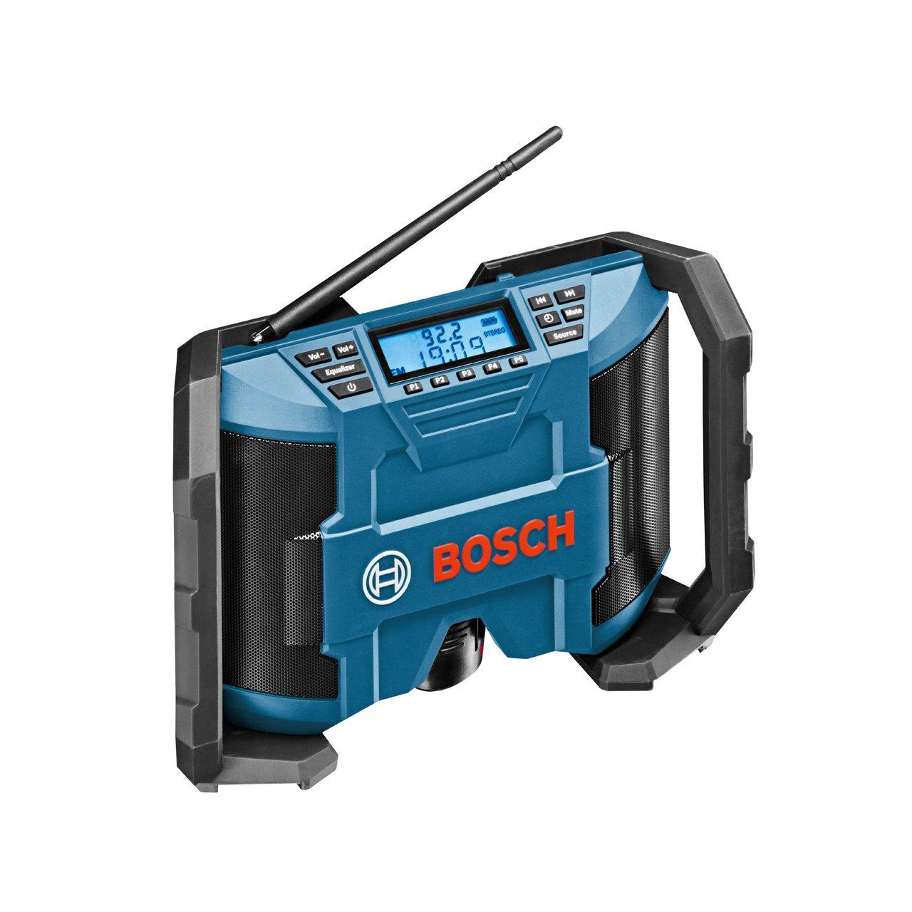 Bosch Professional Akku Baustellenradio GPB 12V-10 (ohne Akku, 10,8 V/12 V Akkubetrieb, im Karton) schwarz/blau 0601429200