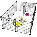 Pet Playpen Metal,Metal Pet Folding Playpen Dog Kennel Pets Fence Exercise Cage 12 Panels Metal Wire Yard Fence for…