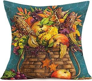 Smilyard Fall Throw Pillow Covers Corn AppleGrapeare in a Brown Basket Decor Pillow Case Cotton Linen Dark Green Background Autumn Rustic Pillow Cover Cushion Case for Sofa 18x18 Inch (K-k 03)