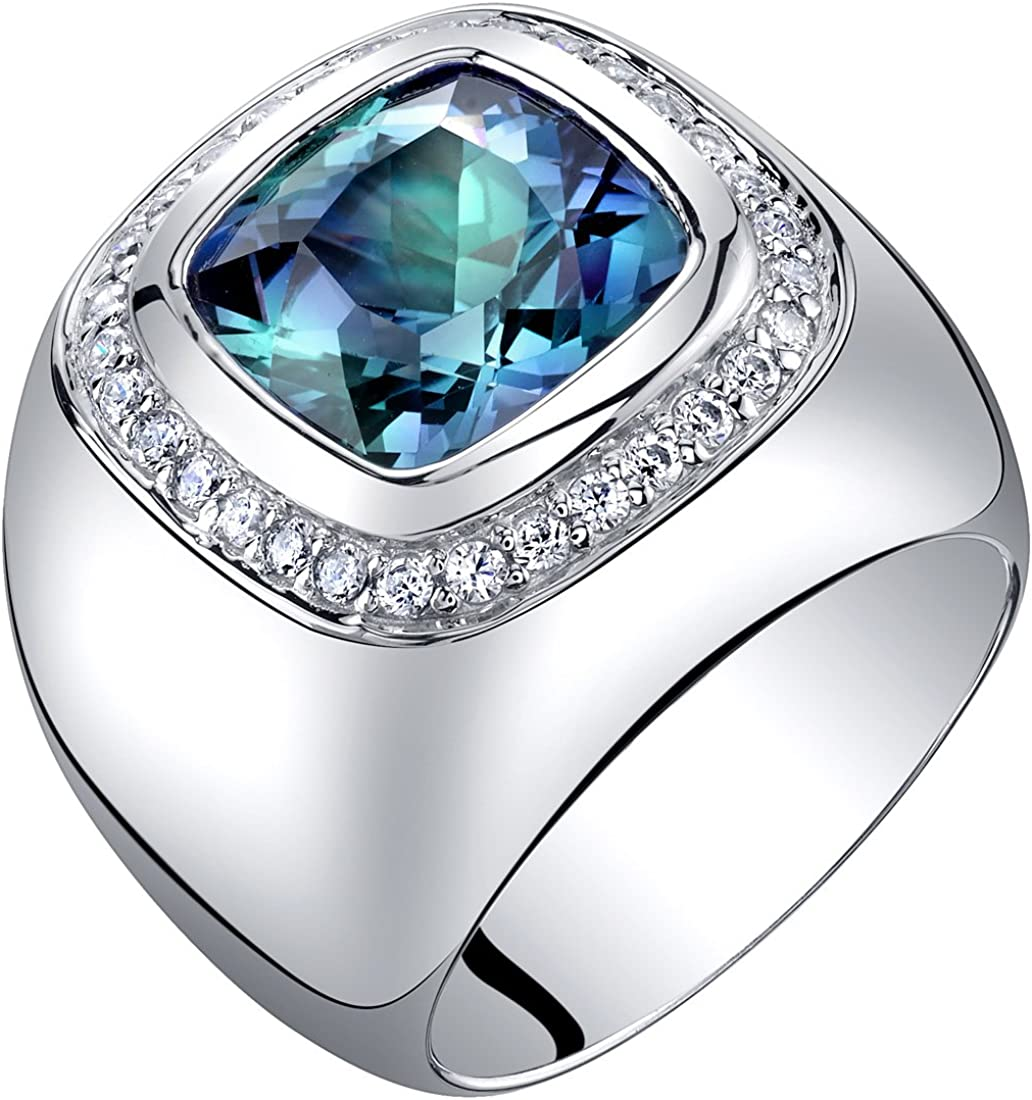 Mens 7 Carats Simulated Alexandrite Ring Sterling Silver Cushion Cut Sizes 8 to 13