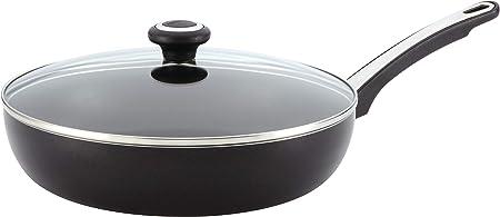 Farberware Dishwasher Safe High Performance Nonstick 12-Inch Covered Deep Skillet, Black – 21582