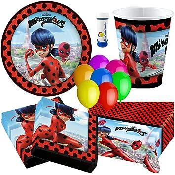 Amscan, doriantrade Miraculous Ladybug - Set de Fiesta (62 Piezas) para 8 niños para cumpleaños Infantil Platos Vasos servilletas Mantel