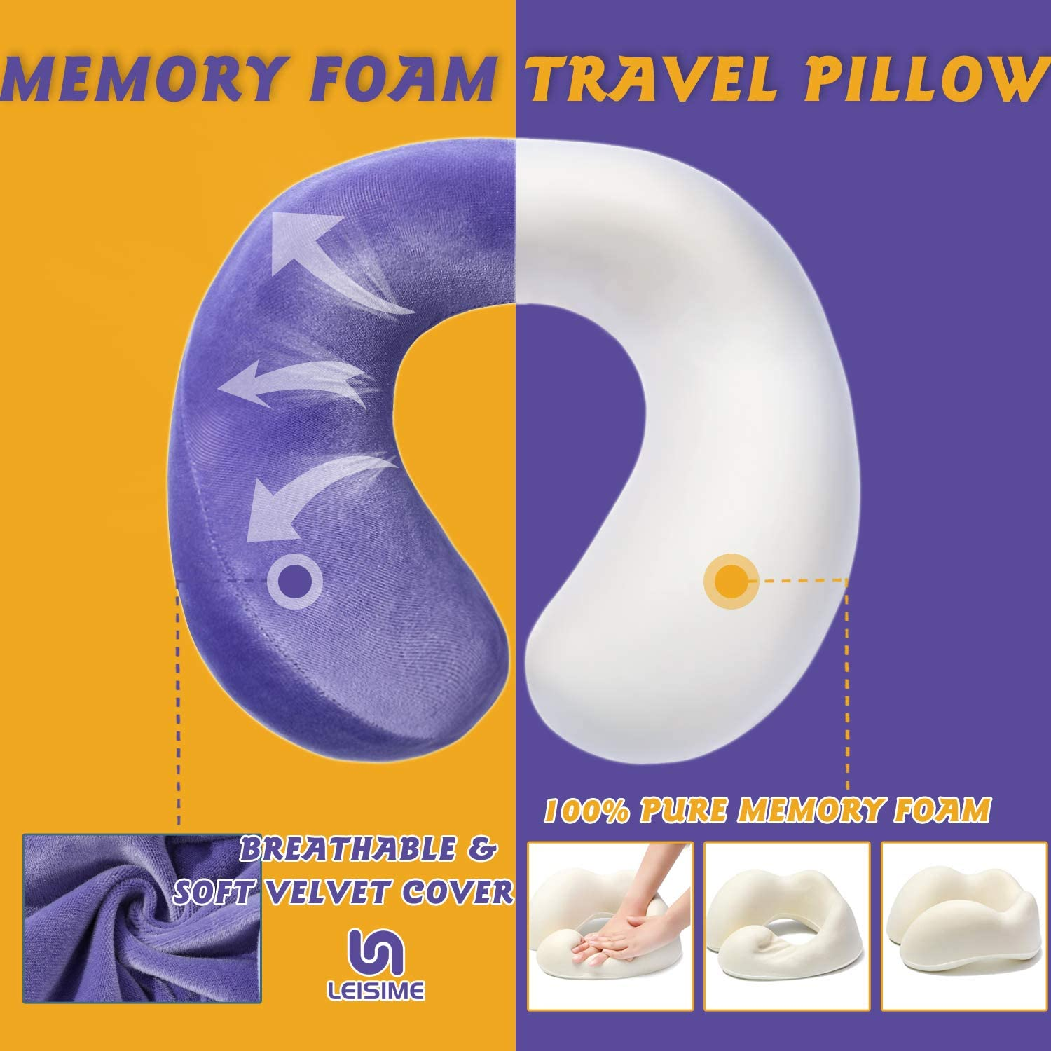 Machine Washable Airplane Pillow Kit with 3D Sleep Mask Comfortable /& Breathable Cover Earplugs LEISIME Travel Pillow Memory Foam Neck Pillow Support and Luxury Bag