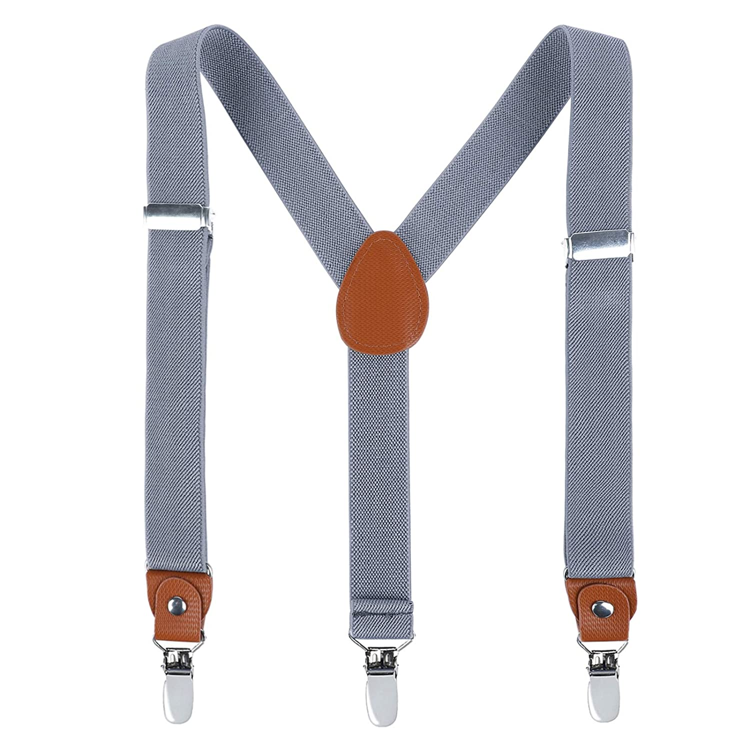 Children Boys Kids Adults Suspenders Dark Grey, 31 Inches Sturdy Metal Clips Genuine Leather Suspender 8 Years - 5 Feet Tall