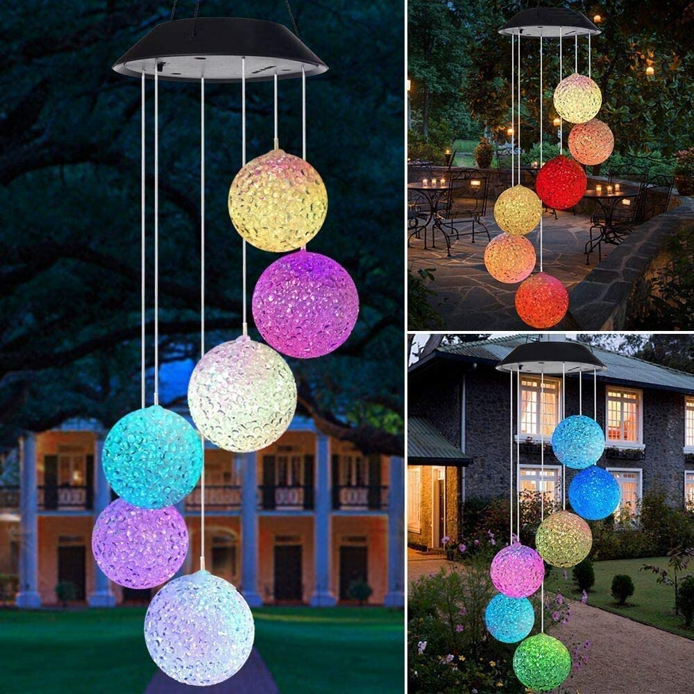 Solar Wind Chime Lamp Outdoor Waterproof IP67, Color Changing Solar LED Mobile Hanging Wind Chimes Lamp for Outdoor and Garden Holiday Decoration(Ball)
