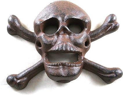Amazon Com Cast Iron Wall Mounted Skull Crossbones Bottle Opener Kitchen Dining