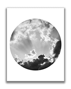 Abstract Clouds in the Sky Circle Wall Art - 11x14 UNFRAMED Photographic Nature Botanical Decor Print. Shades of Black, White & Gray.