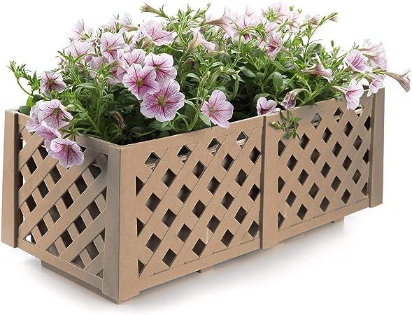 1 x Large Square Wooden Garden Planter Vegetable Flower Plant Pot Basket Trough