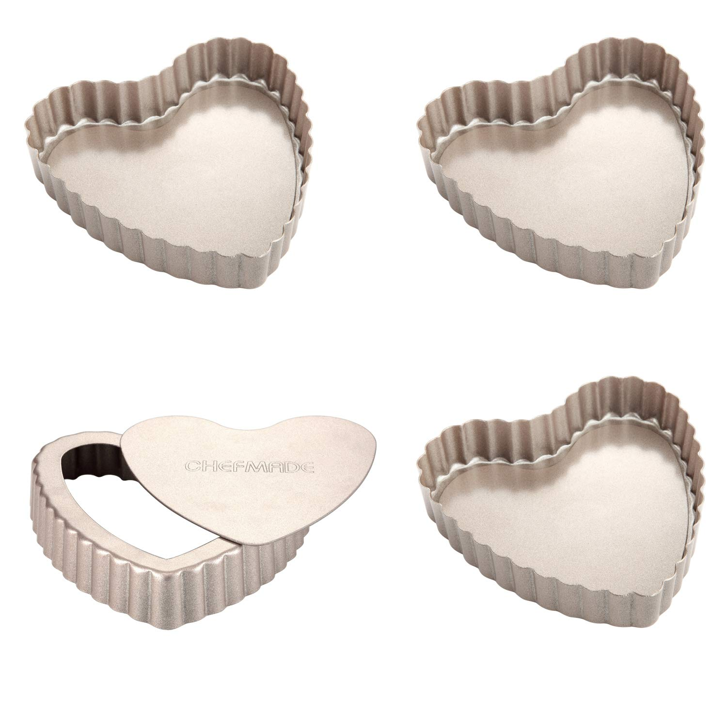 CHEFMADE Mini Heart-shaped Quiche Pan Set with Removable Loose Bottom, 4PCS 4-Inch Non-stick Carbon Steel Tart pan, FDA Approved for Oven Baking (Champagne Gold)