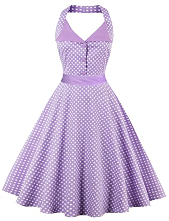 Joansam Vintage 1950s Rockabilly Polka Dots Audrey Dress Retro Cocktail Dress JS1503PU-S