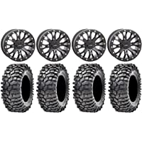 Bundle 9 Items: System 3 SB-4 Black 4+3 4x156 Bolt Pattern 3//8x24 Lug Kit 14 Wheels 35 Roxxzilla Tires