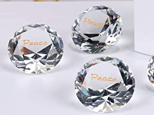 ROCKIMPACT 12PCS Peace Large Engraved Crystal Diamond Home Décor, Bulk Wholesale Wedding Table Decoration, Paperweight with Encouraging Inspirational Sayings (Pack of 12, Peace, Crystal Clear)