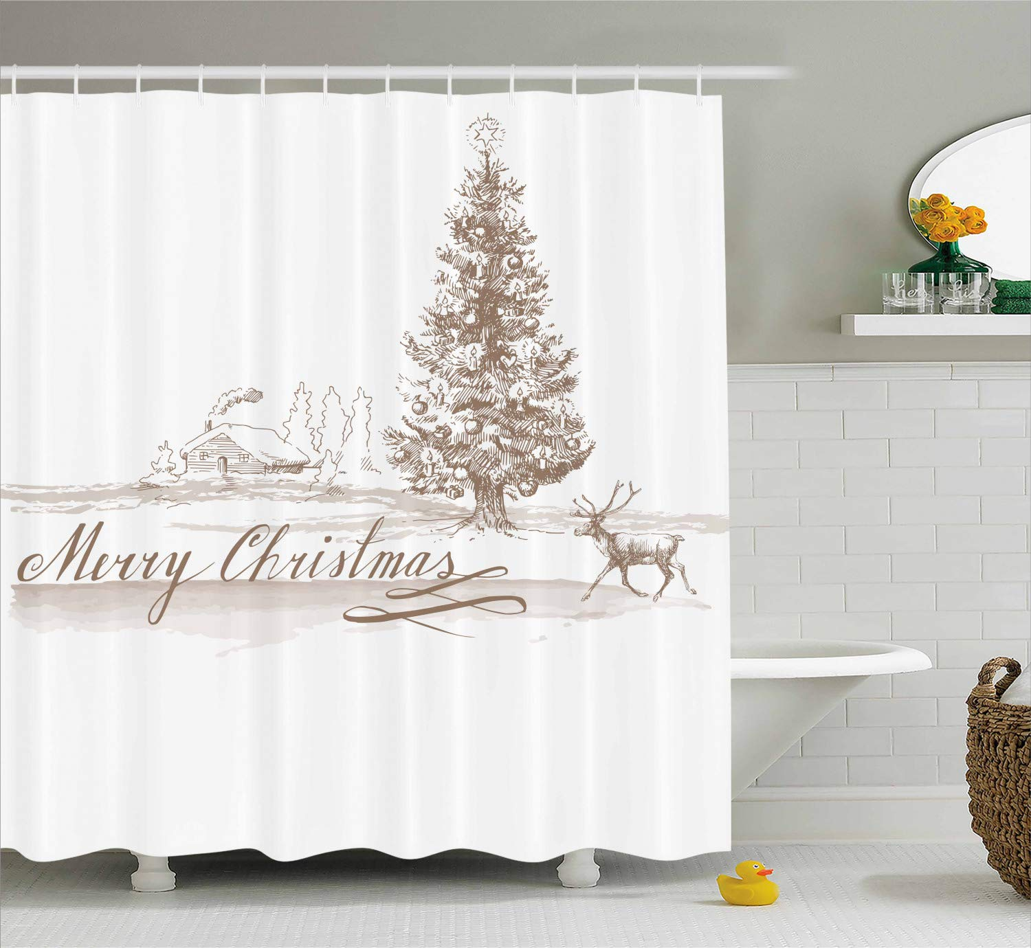 Christmas Bathroom Curtains.Ambesonne Christmas Shower Curtain Romantic Vintage New Year Scenery With Reindeer Tree And Star Ancient Design Image Cloth Fabric Bathroom Decor