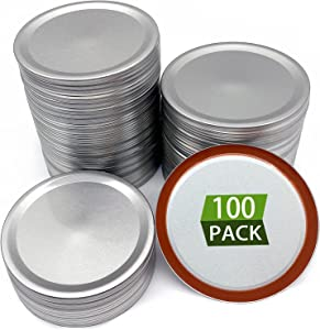 100Pcs Wide Mouth Canning Lids, Split-Type Metal Mason Jar Lids for Canning Food, Professional 60HA Silicone Sealing Ring, 100% Fitting & Airtight for Wide Mouth Jars, Leak Proof, Anti-Rust, 86MM