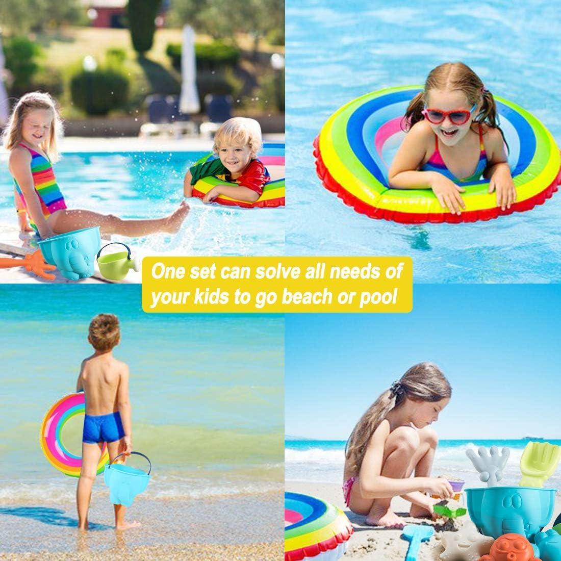 WTOR Beach Toys 21Pcs Sand Toy Sandbox Vehicle Swimming Ring Beach Bucket and Shovel Sandbox Toys with Mesh Bag for Toddlers Kids