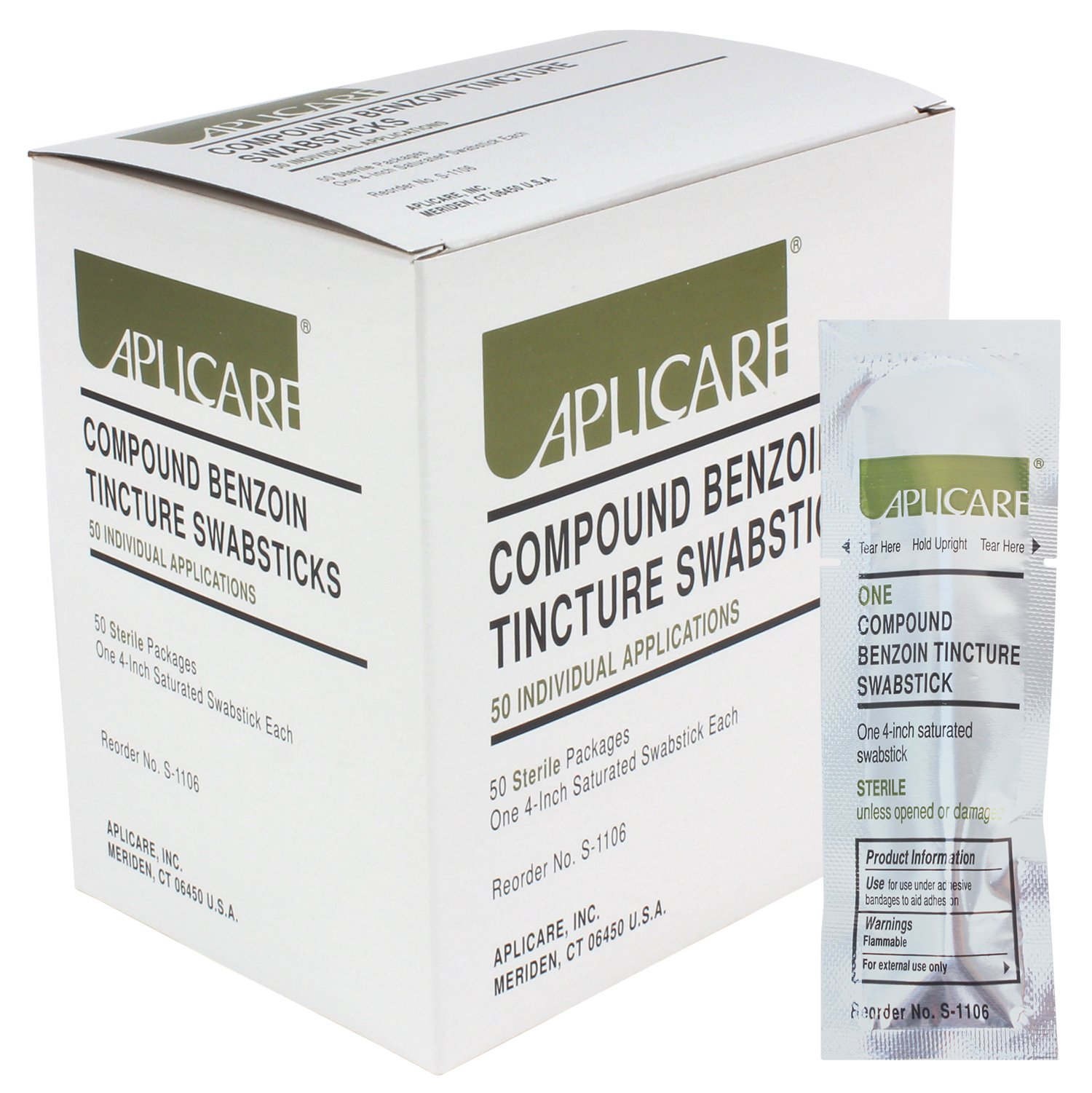 Aplicare Compound Benzoin Tincture Swabsticks 50 Individual Sterile Applications by Aplicare