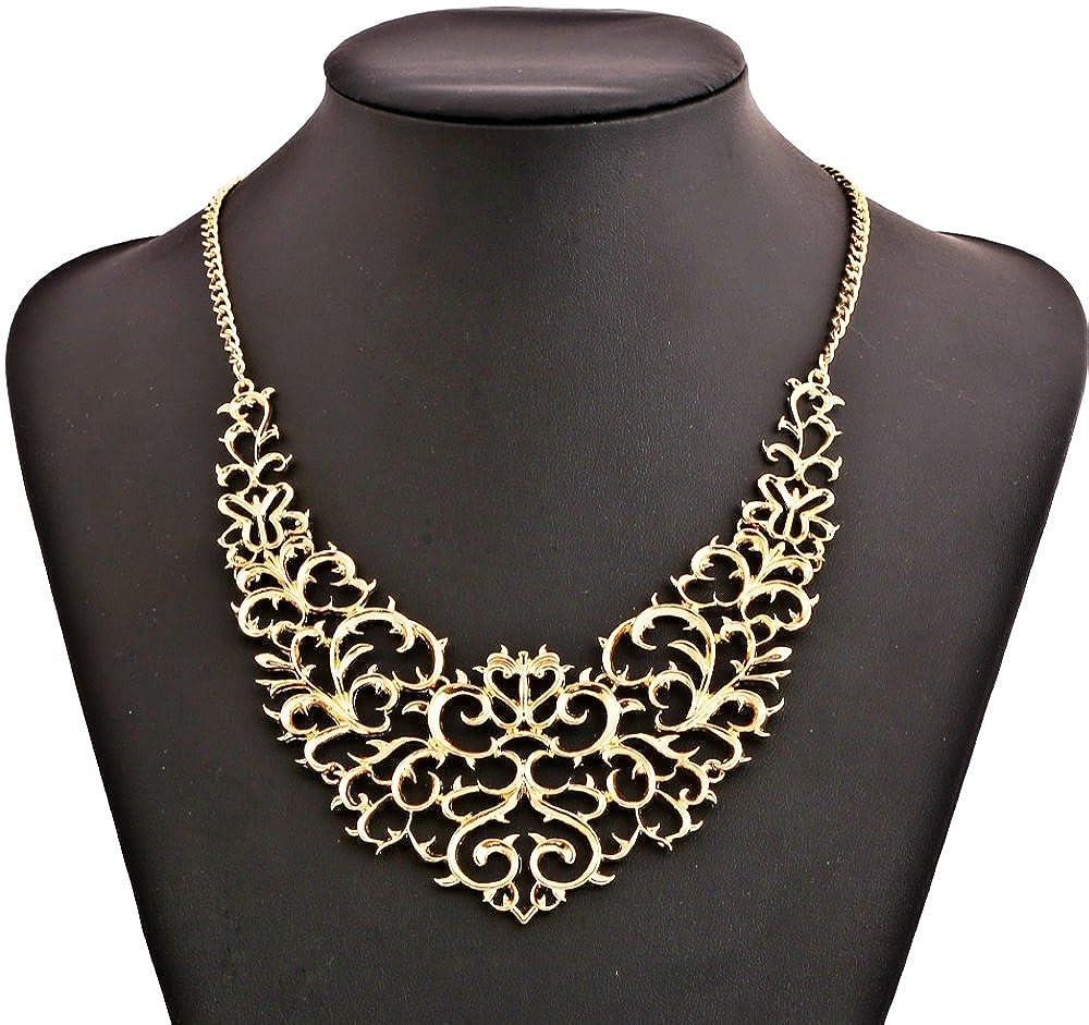 Bewish Vintage Retro Gold Plated Filigree Bib Chain Statement Choker Necklace For Women Accessories Jewelry Luxury