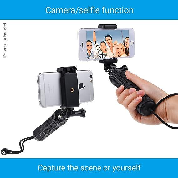 CamKix La estabilización de empuñadura Compatible con GoPro Hero con doble montaje, adaptador de trípode y de soporte para telefono universal - Grabar la ...