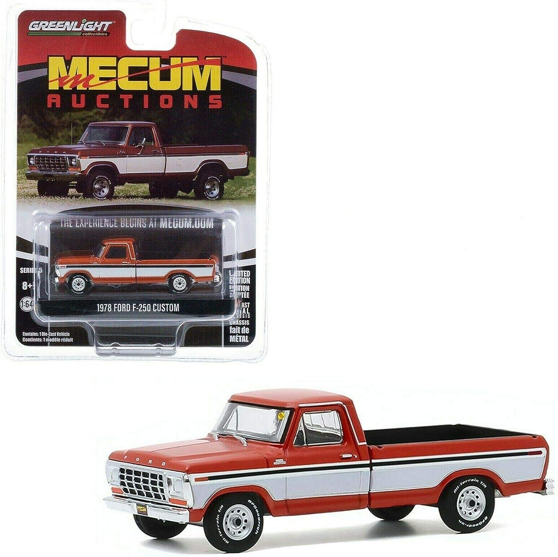 Greenlight 37210-F Ford F-250 Custom braun//weiss Mecum Auctions 1:64 NEU!°