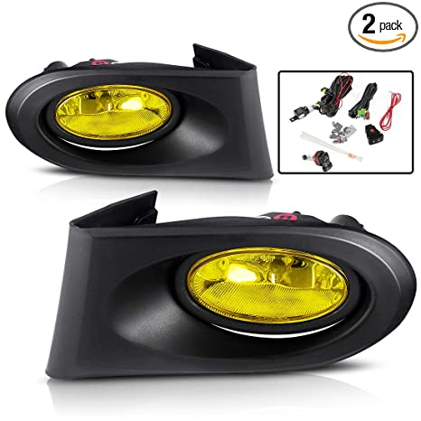 amazon com: autosaver88 fog lights for acura rsx 2002 2003 2004 fog lights  (real glass yellow lens with bulbs & wiring harness): automotive
